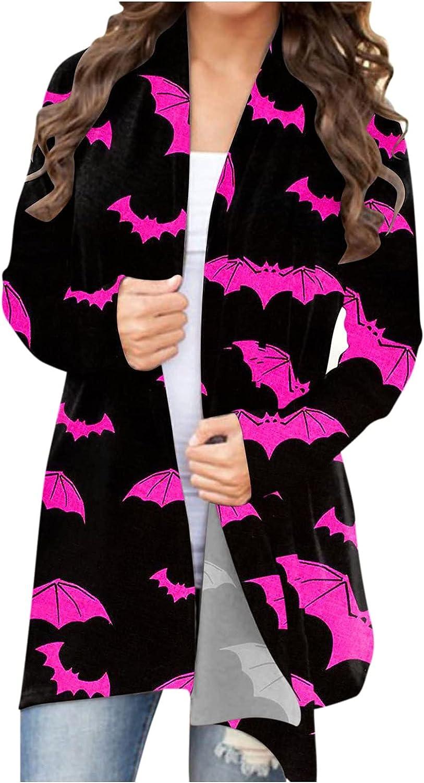UOCUFY Halloween Cardigan for Women, Womens Funny Cute Pumpkin Ghost Graphic Lightweight Coat Long Sleeve Open Front Top
