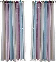 ستائر نجوم معتمة ستائر نجوم للأطفال البنات غرفة النوم غرفة المعيشة الملونة طبقة مزدوجة ستار ستائر النافذة، لوحة واحدة (53