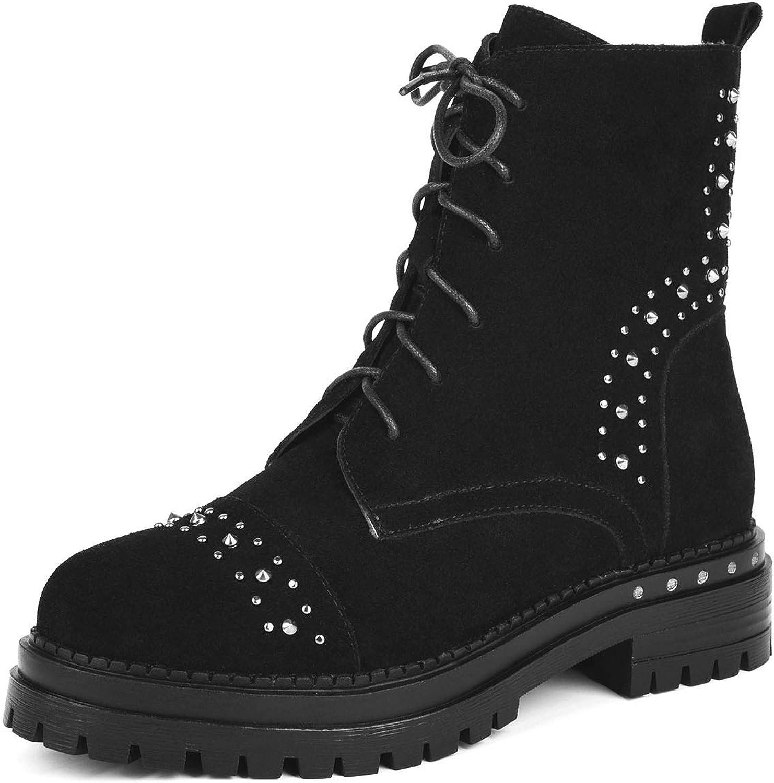 Women's Ankle Boots, Autumn Winter Thick Heel Leather Boots Zipper Lace Up Metal Rivet shoes Martin Boots Black (color   Black, Size   35)