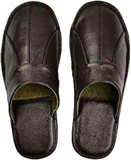 SAMSAY Genuine Leather Home Slipper Closed Toe Flat Shoes for Womens & Mens