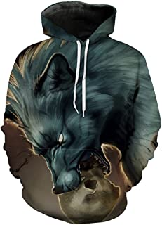 3D Print Dangling Skull Wolf Wolf Hooded Sweatshirt Neutral Hoodies
