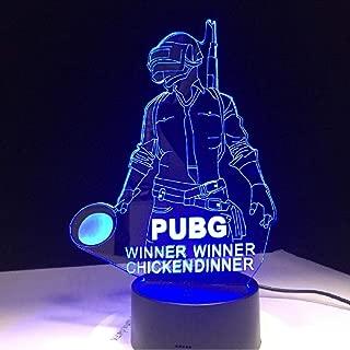 Wkxjh Winner Pubg Winner Chicken Dinner Fps Game Player Unknown S Battlegrounds 3D Lamp 7 Colors Change Led Lamp Gift For Fantastic Friends Art