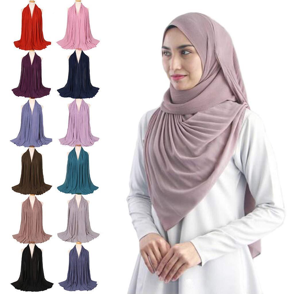 Muslim Women Hijab Scarf Lightweight Chiffon Islamic Long Head Wrap Shawls