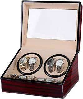 Watch 6 Storage Spaces Automatic Watch Winder Box with 4 Winder Positions, Piano Paint Black Gloss Watch, Fashion Watch (Color : Wine Red)