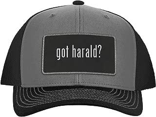 One Legging it Around got Harald? - Leather Black Metallic Patch Engraved Trucker Hat