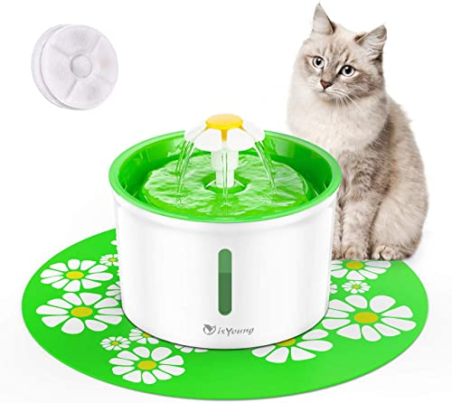 isYoung Cat Fountain 1.6L Automatic Pet Water Fountain Pet Water Dispenser, Dog/Cat Health Caring Fountain and Hygien...