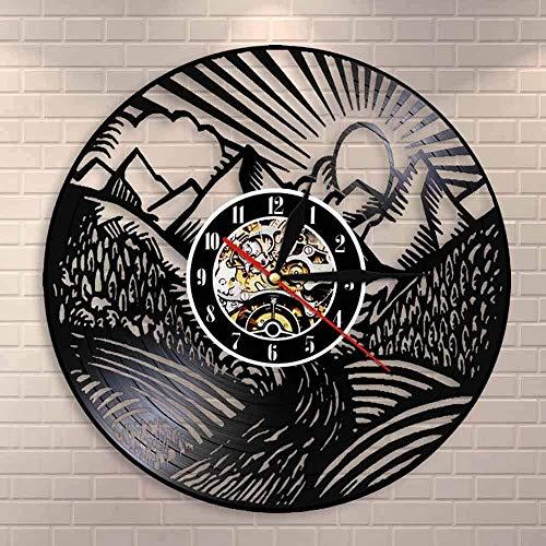 BBZZL Reloj de Pared con Pintura de Pared con Vista a la montaña, Paisaje escénico, Pico de montaña, Sol Dorado, Reloj de Pared con Registro de Vinilo, Regalo de Viajero Aventurero