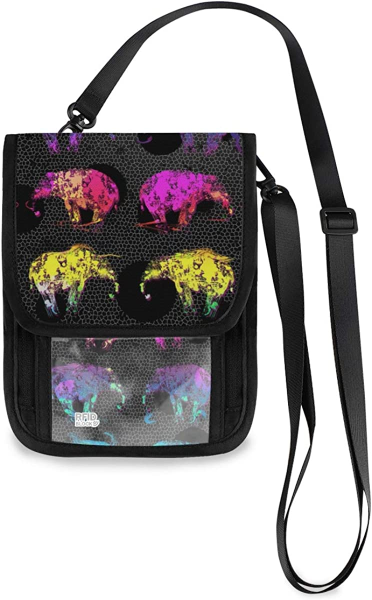 RFID Blocking Travel Neck Wallet Quantity limited - Our shop OFFers the best service Elephants Ho Passport Rainbow