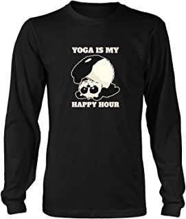 Yoga is My Happy Hour Funny Gifts Idea Jokes for Mens Women Long Sleeve T-Shirt