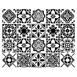 decalmile 20 Pièces Stickers Carrelage 15x15cm Classique Noir et Blanc Marocain Carrelage Adhésif Mural Cuisine Salle de Bain Carreaux de Ciment Mural Décoration