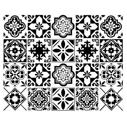 decalmile 20 Stück Fliesenaufkleber 15x15cm Klassisch Schwarz und Weiß Marokkanische Porzellan Wandfliese Fliesensticker Küche Badezimmer Deko