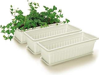 Apofly Paquet De 3 Rectangulaire Planteur Jardinière Rebord Pot De Fleurs Plantes Légumes Herbes Growing Raise Container B...