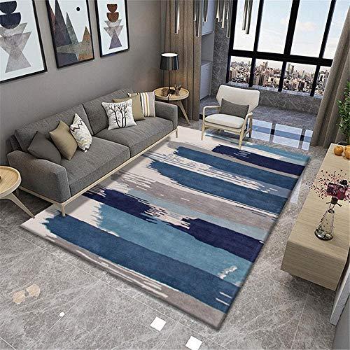 decoración habitación niña azul Alfombra de sala de estar, graffiti, raya ancha, patrón azul, alfombra duradera, antiácaros alfombras de salon 200X300CM alfombra de juegos 6ft 6.7''X9ft 10.1''