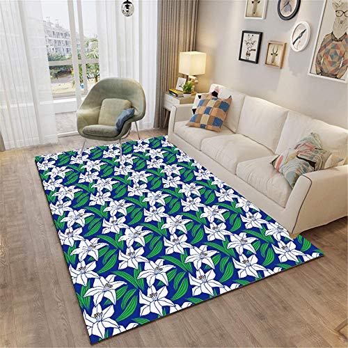 Alfombras Pie De Cama Blanco verde cuadro decoracion salon Pequeño patrón de...