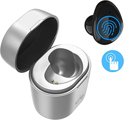 HolyHigh TWS Bluetooth Earphones, Bluetooth 5.0 True Wireless Single Earbud with Charging Box Stereo Sound TWS Bluetooth Headphone with Microphone for Mobile -Only 1 Right Ear (Silver)