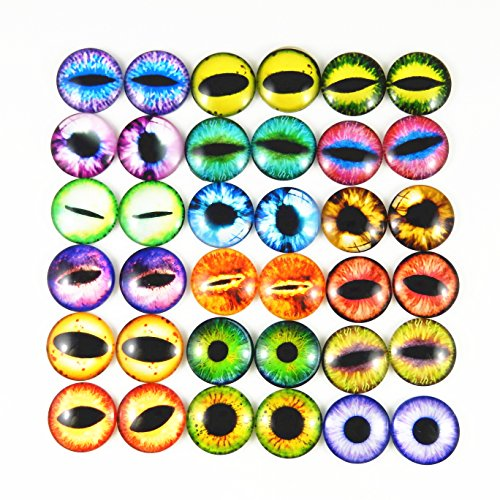 Mixed Style Dragon Eyes Round time gem Cover Glass Cabochon Dome Jewelry Finding Cameo Pendant Settings (30MM)