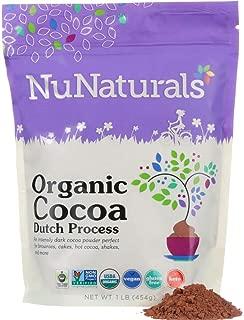 NuNaturals Premium Organic Dutch Processed Cocoa Powder for Baking, Non-GMO, Fair Trade Cocoa 76 Servings (1 lb)