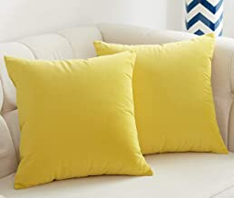 JSBYY Velvet Throw Pillow Covers Solid Color Decorative Square Soft Cushion Cases 18x18 or 12x20 Inch Set of 2 18 x 18 Yellow