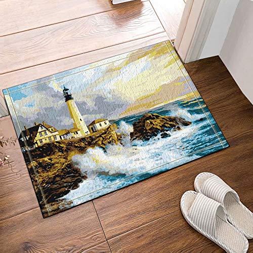 Amateurs de peinture, vagues énormes, vagues de roche, phare, construction de logements Tapis de salle de bain tapis de porte anti-glisse entrée de sol tapis de porte d'entrée extérieur 60X40CM