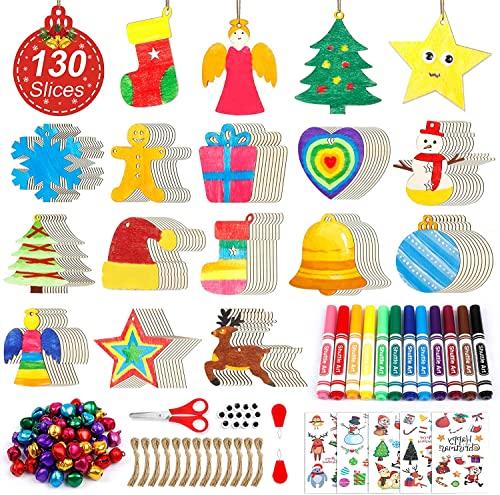 360 PCS Wooden Christmas Ornament Kit, Shuttle Art 130 Unfinished Wood Slices...