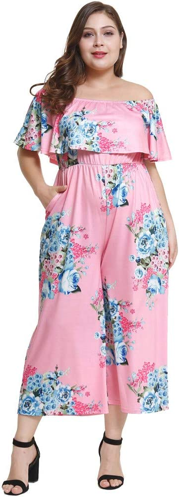 Women's Plus Size Dresses Rompers Sexy Off The Shoulder Printing High Waist Low Chest Short Skirt Fashion Cocktail Night Club Party No Zip Dress Pink
