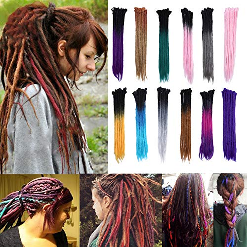 "24"" Dreadlock Extension Ombre For Hip-Hop Synthetic Heat Resistant Crochet Braiding Hair Handmade Reggae Extension Twist Braiding Hairpiece Box Braid(10strands/2packs,black to silver grey)"