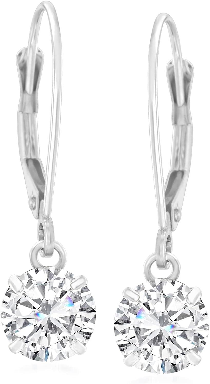 Ross-Simons 2.00 ct. t.w. CZ Drop Earrings in 14kt White Gold