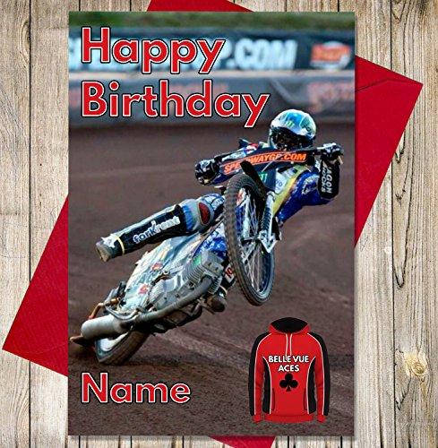Belle Vue Aces - Gepersonaliseerde Speedway Verjaardagskaart - Naam en leeftijd gedrukt op de voorzijde