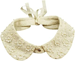 Joyci Unique Pearl False Collar 3D Flower Fake Collar Lace Doll Necklace