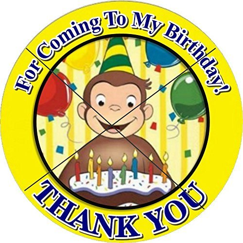12 CURIOUS GEORGE Birthday Party Favor Stickers/Labels for Gift, Goody Treat Bag (2.5 inches circle stickers, bags not included)