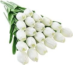 JUSTOYOU El tulipán Tiene un Toque Real, 33 cm de Largo, Flores Artificiales Decorativas para Ramos de Boda, hogar, Hotel, jardín, Evento navideño, Blanco, 20 por Paquete.