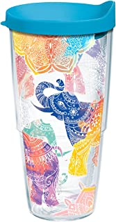 Tervis 1221837 Mehndi Elephants Tumbler with Wrap and Turquoise Lid 24oz, Clear
