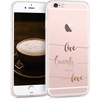 kwmobile Hülle kompatibel mit Apple iPhone 6 / 6S - Handyhülle - Handy Case Live Laugh Love Rosegold Transparent