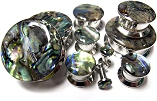 Urban Body Jewelry Pair 2 Gauge (2G - 6mm) Abalone Shell Top Stainless Steel Plugs