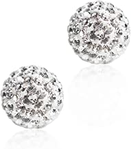 BAYUEBA 925 Sterling Silver Sparkle Crystal Ball Stud Earrings Christmas Gift