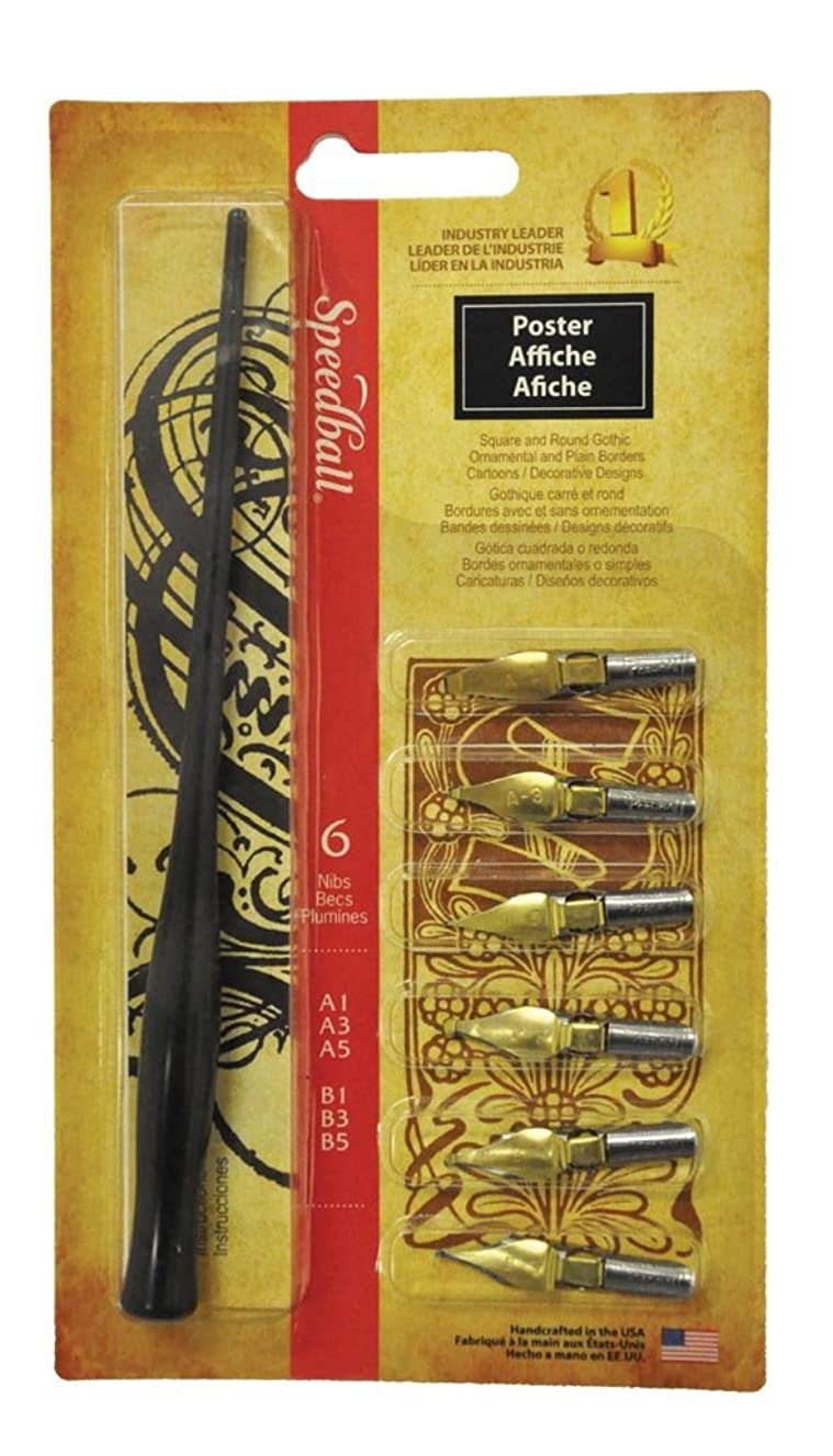 Speedball Poster Pen Set: 6 Assorted Nibs, Square A1, A3, A5 and Round B1, B3, B5 (002963)