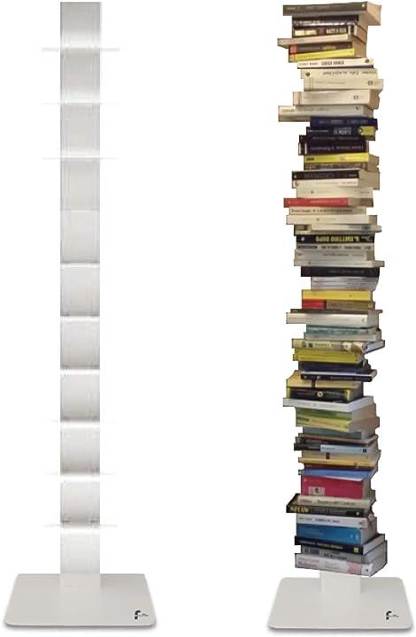 Libreria a colonna verticale bianca altezza 155 cm 10 ripiani libreria moderna di flo.mar design flo.mar sari B08S3SVS82