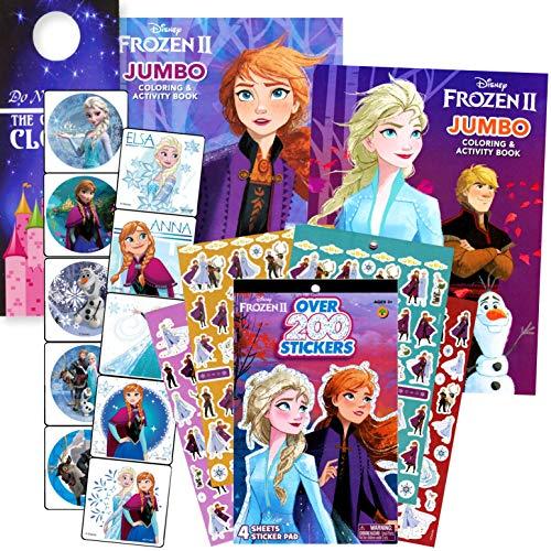 Disney Frozen - Libro para colorear con pegatinas, incluye 2 libros para colorear y pegatinas de Disney Frozen con suspensión de puerta de castillo de 2 lados