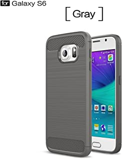 Protective Case Compatible with Samsung Compatible Samsung Galaxy S6 Ultra Light Carbon Fiber Armor Shockproof Brushed Silicone Grip Case Phone case (Color : Gray)