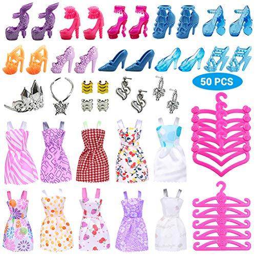 Ourine 50 Psc/Set Barbie Accesorios de Muñeca Lindo Vestido de Tacones Altos...