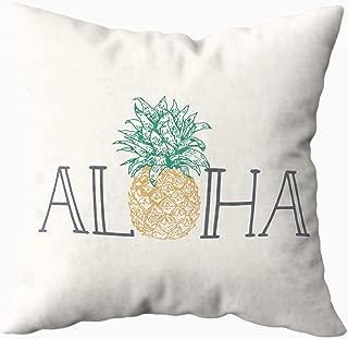 Musesh Aloha Hawaiian Pineapple Lumbar Pillow Quote Cushions Case Throw Pillow Cover for Sofa Home Decorative Pillowslip Gift Ideas Household Pillowcase Zippered Pillow Covers 20X20Inch