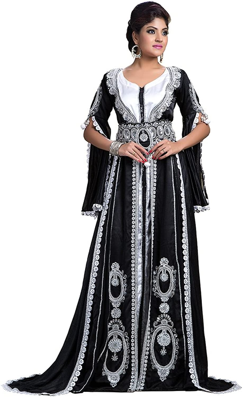 Kolkozy Fashion Women's Wedding Kaftan Dress Black