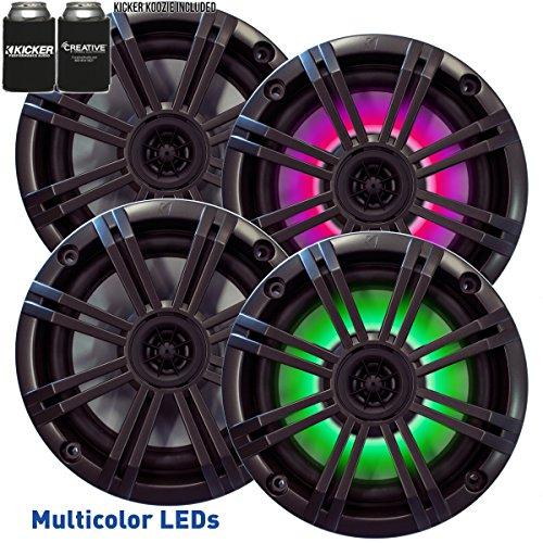 Kicker 6.5' Charcoal LED Marine Speakers (QTY 4) 2 pairs of OEM...