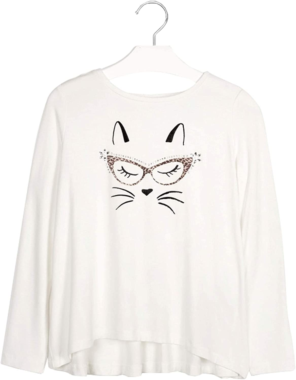 Mayoral - L/s Viscose cat t-Shirt for Girls - 7072, Natural