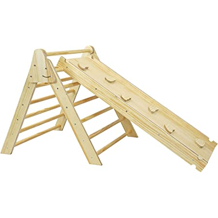 Foldable Wooden Triangle Climber with Reversible Climbing Ramp/Slide, CPSA Certified, Foldable Compact Climbing Triangle for Small Children Toddlers, Indoor Play Activity Structure Easy Storage