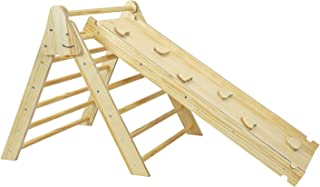 Foldable Wooden Triangle Climber with Reversible Climbing Ramp/Slide, CPSA Certified, Foldable Compact Climbing Triangle f...
