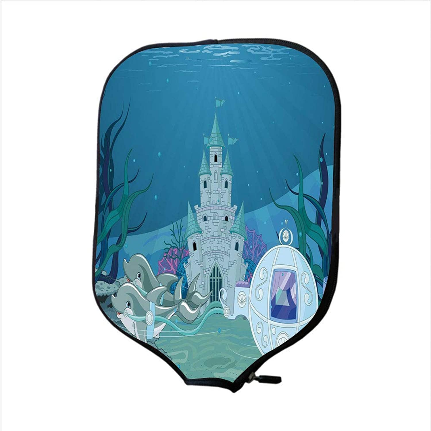 MOKALE Fine Neoprene Pickleball Paddle Racket Cover Case,Ocean,Fairytale Mermaid Castle with Dolphins Moss Fish Sun Beams Art Print,Turquoise Light blueee Teal,Fit for Most Rackets