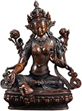 PPCP Green Tara Buddha Statue, Decorative Brass Sculpture, Desktop Study Decoration Works, Symbol of Auspiciousness and Fo...