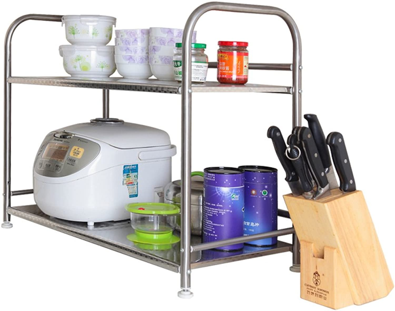 Kitchen Microwave Shelf Rack Creative Kitchen Finishing Storage Rack Storage Rack -by TIANTA (Size   2 Floors)