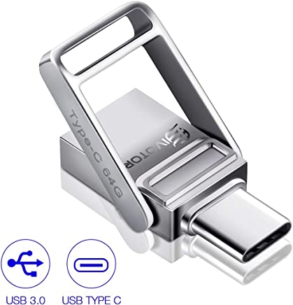 Memoria USB 64GB, EIVOTOR Flash Drive 3.0 + Pendrive Type c 3.1 Memory Stick 2 en 1 Pen Drive portátil Impermeable con Llavero